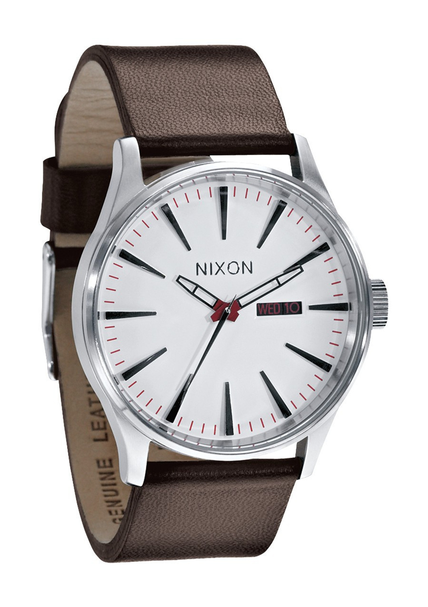 NIXON The Sentry Leather Uhr Stahl Weiß A105 100