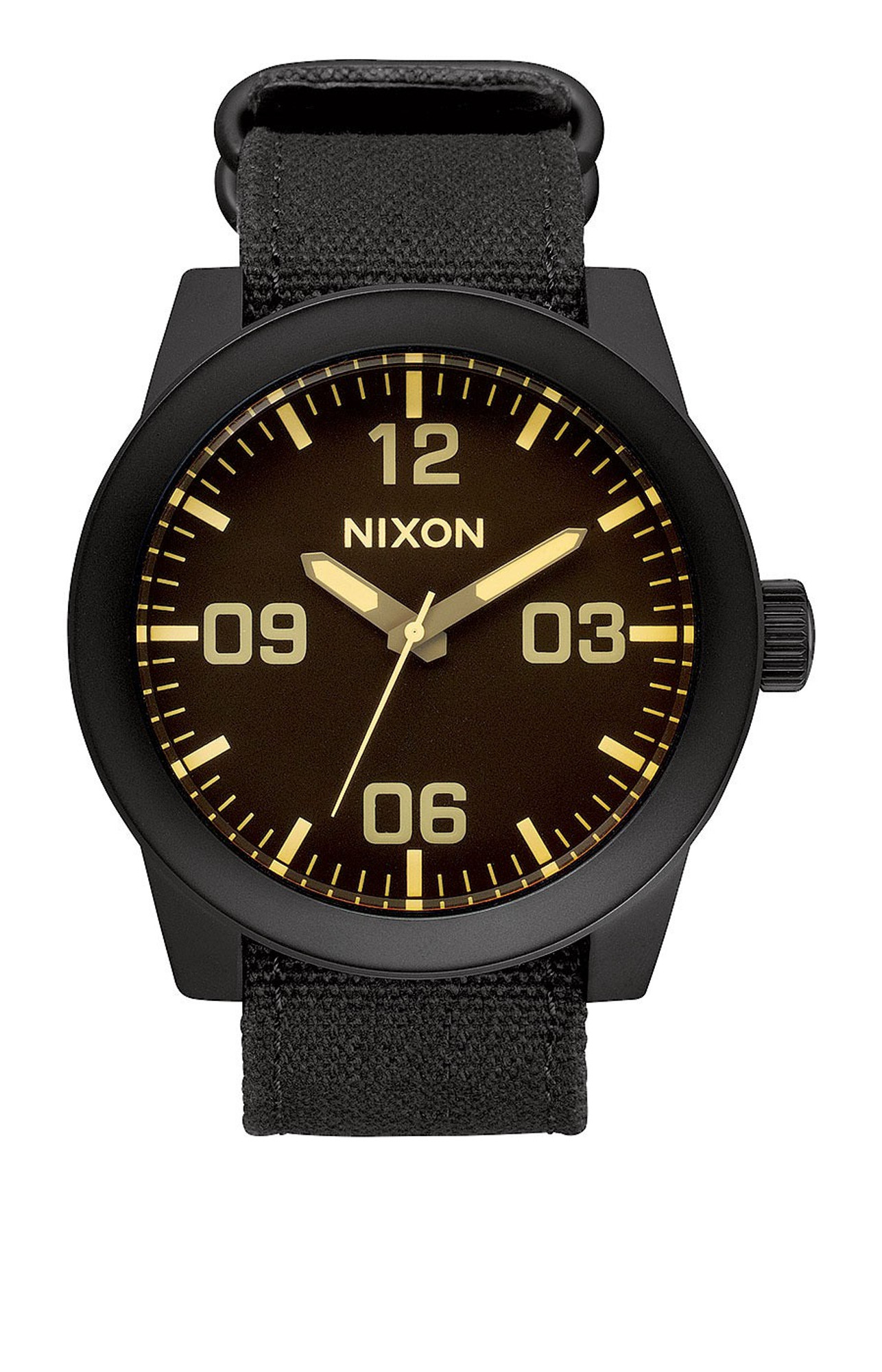 NIXON The Corporal Herrenuhr Schwarz Orange Tint