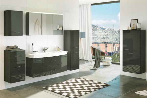Badezimmer-Set in Hochglanz Grau