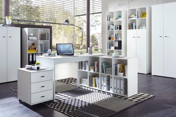 Komplette Büroausstattung in Weiß