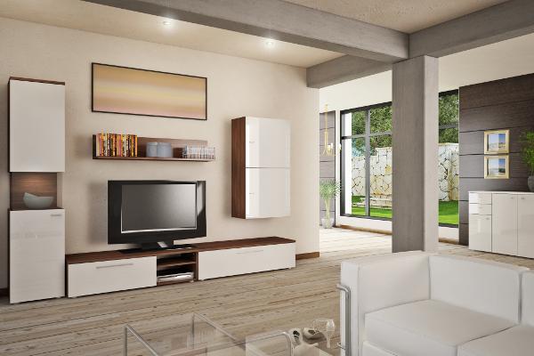 Wohnwand in Weiß und dunklem Holz