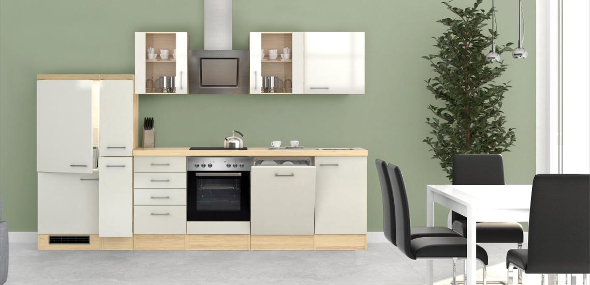 Küchenzeile FLORENZ in Perlmutt Weiß