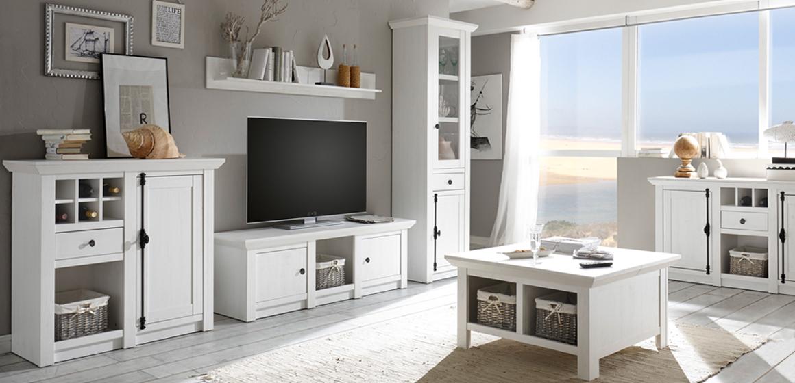 Wohnzimmerprogramm EMDEN im Landhausstil Weiß
