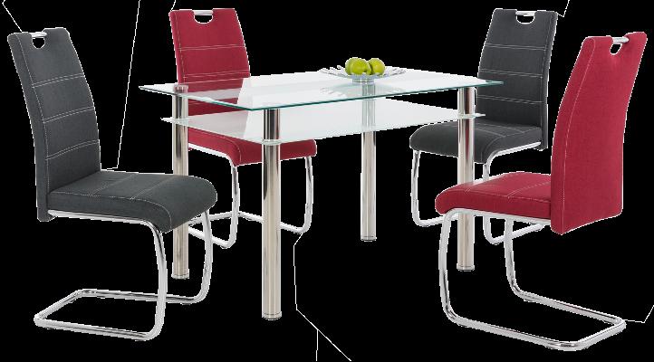 Glas-Esszimmertisch und Stühle in Anthrazit und Rot