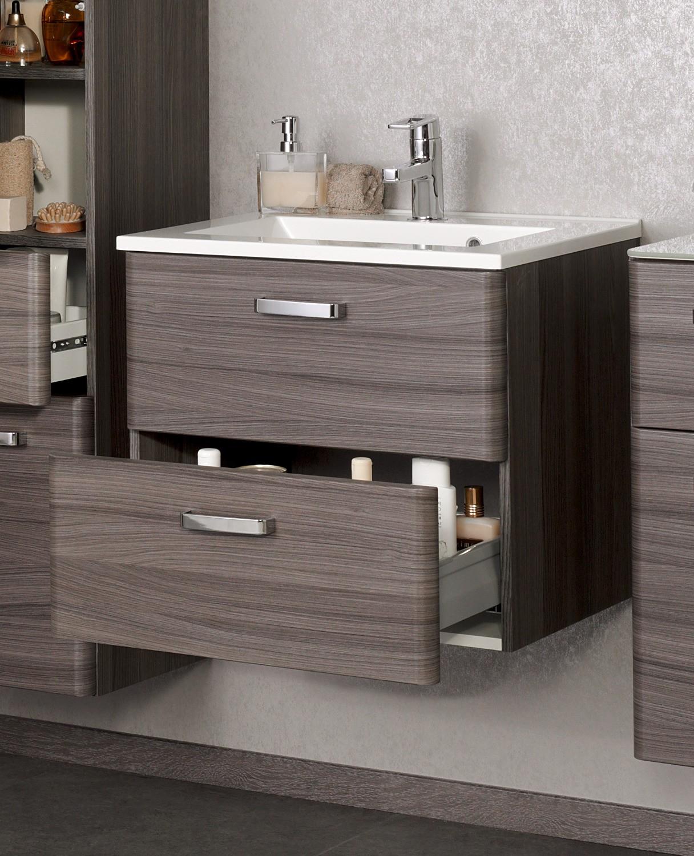 bad waschtisch phoenix 2 ausz ge 60 cm breit eiche dunkel mit echtholzstruktur bad waschtische. Black Bedroom Furniture Sets. Home Design Ideas