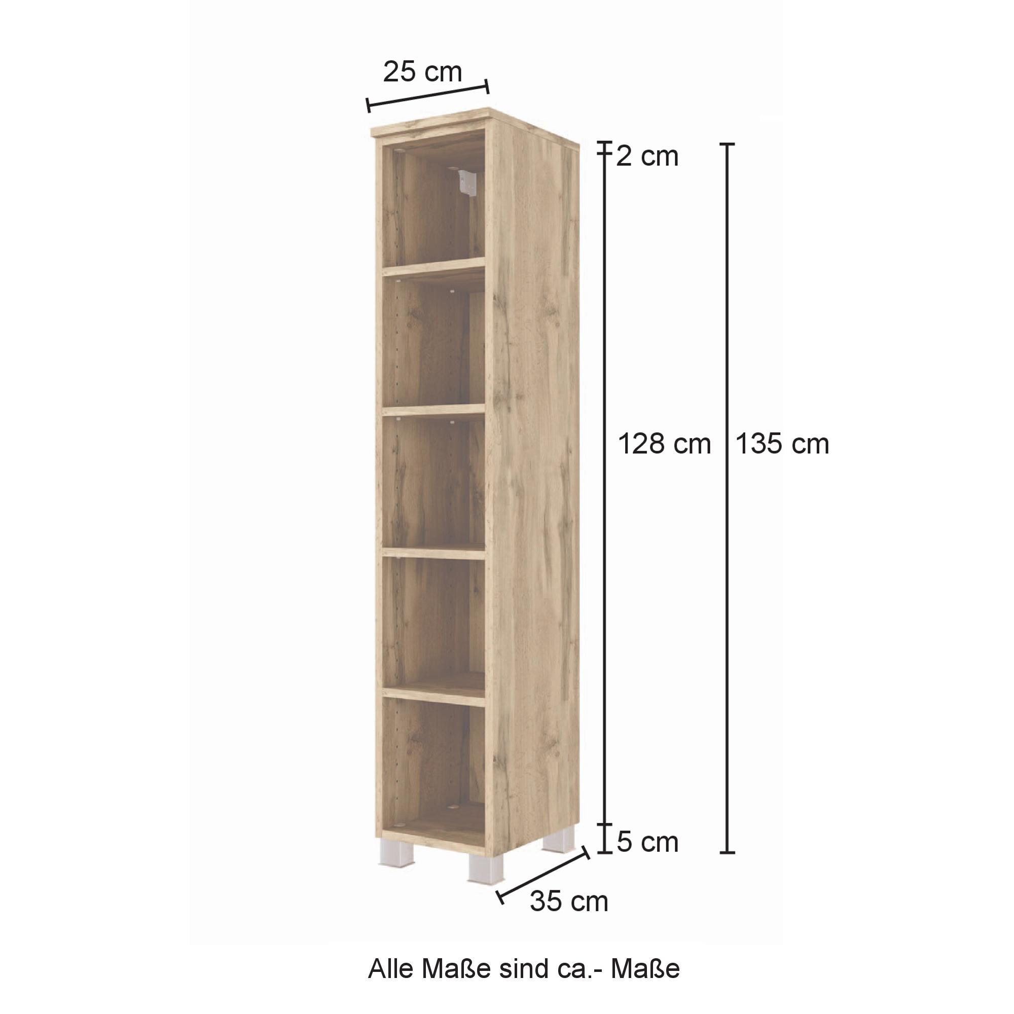 Bad Regal   20 Fächer   20 cm hoch, 220 cm breit   Wotan Eiche