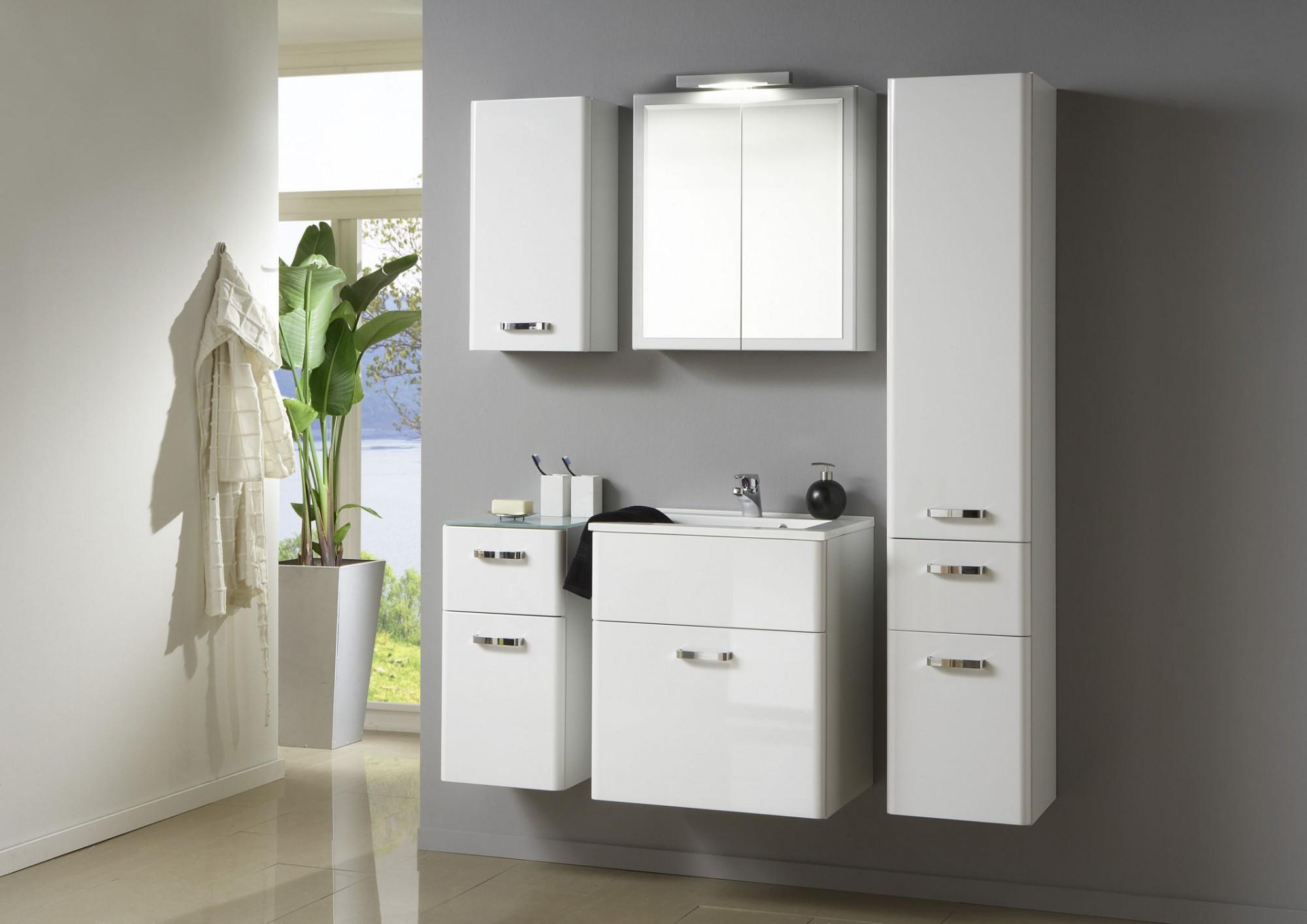 badezimmer hochschrank phoenix seitenschrank mit 2 t ren 1 schublade weiss ebay. Black Bedroom Furniture Sets. Home Design Ideas