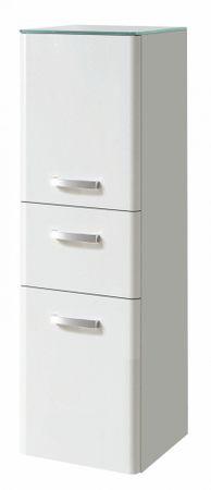 Bad-Midischrank PHOENIX - 2-türig, 1 Schublade - 35 cm breit - Hochglanz Weiß