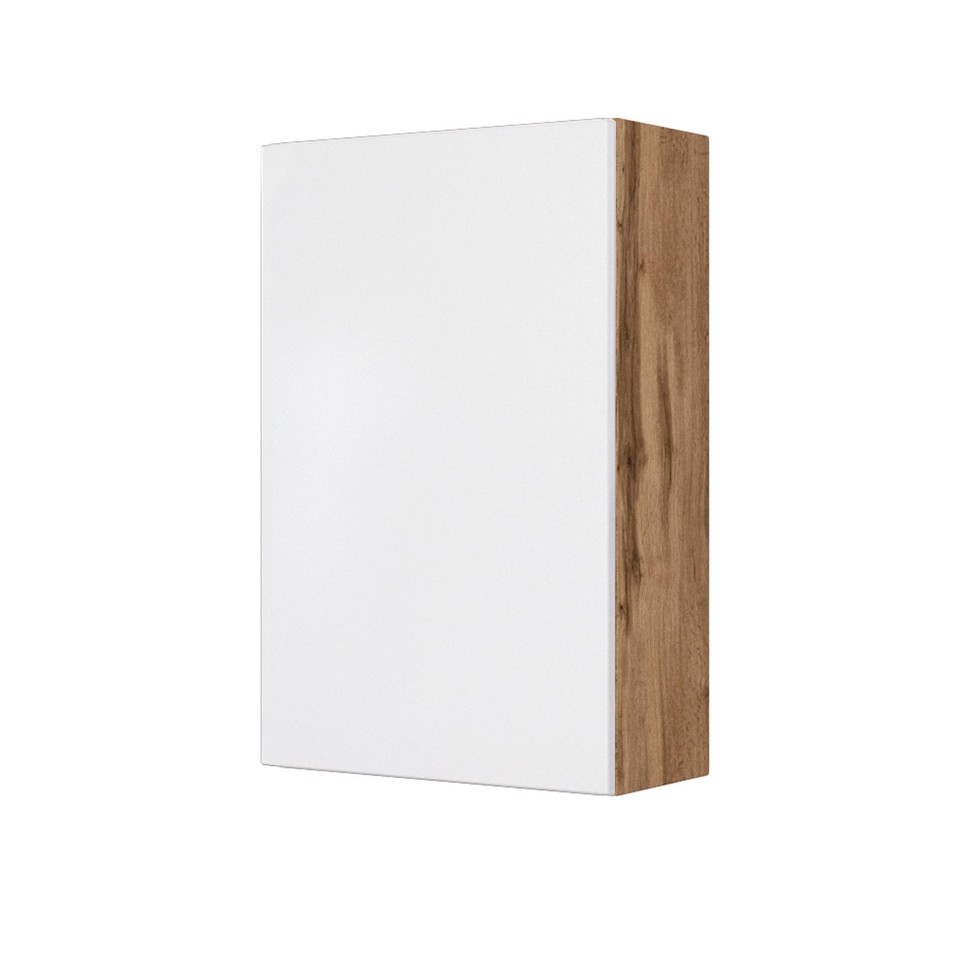 Bad Hängeschrank BORKUM   20 türig   20 cm breit   Weiß Matt / Wotan Eiche