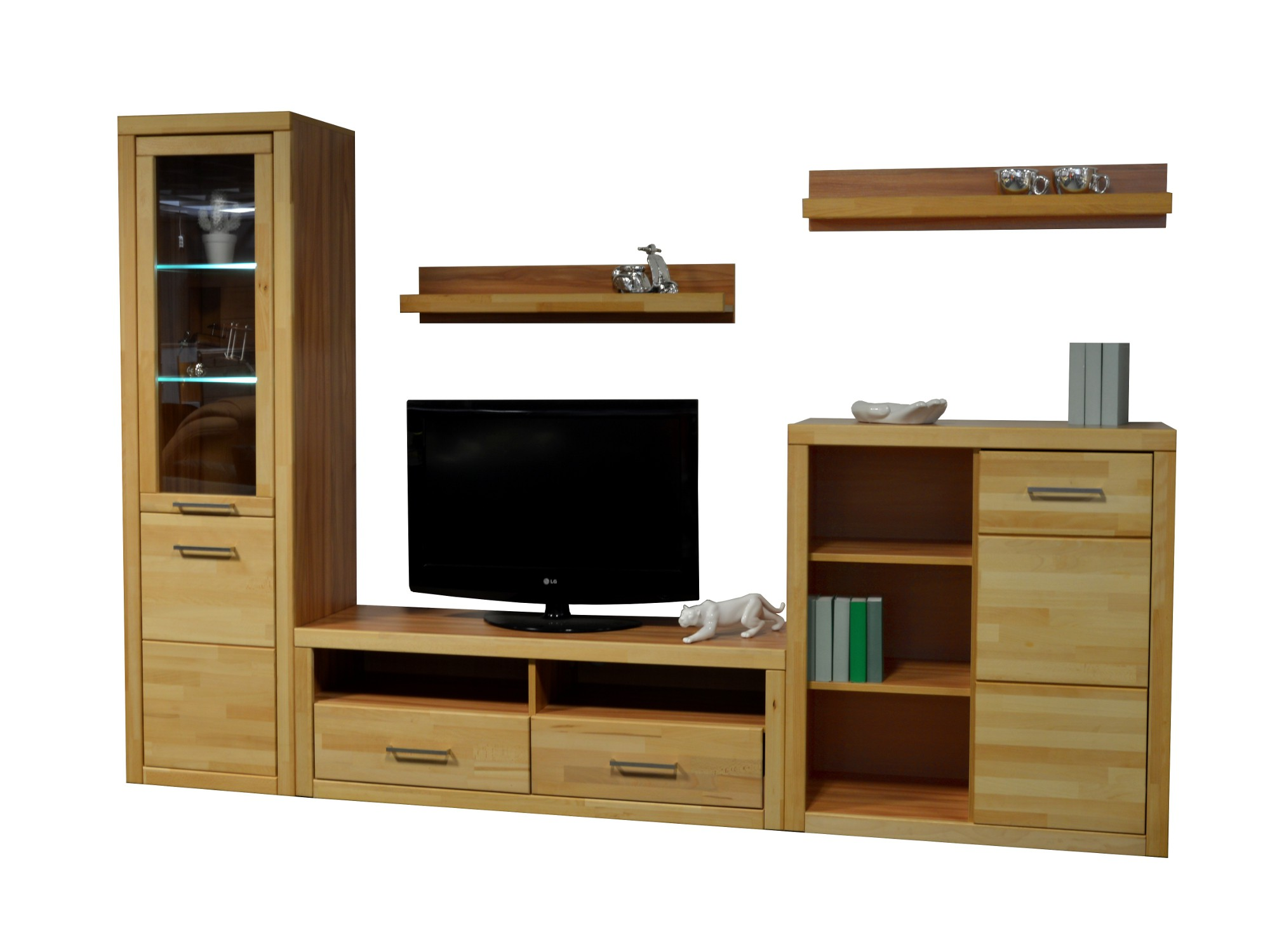 wohnwand lund 5 teilig 270 cm breit kernbuche wohnen wohnw nde. Black Bedroom Furniture Sets. Home Design Ideas