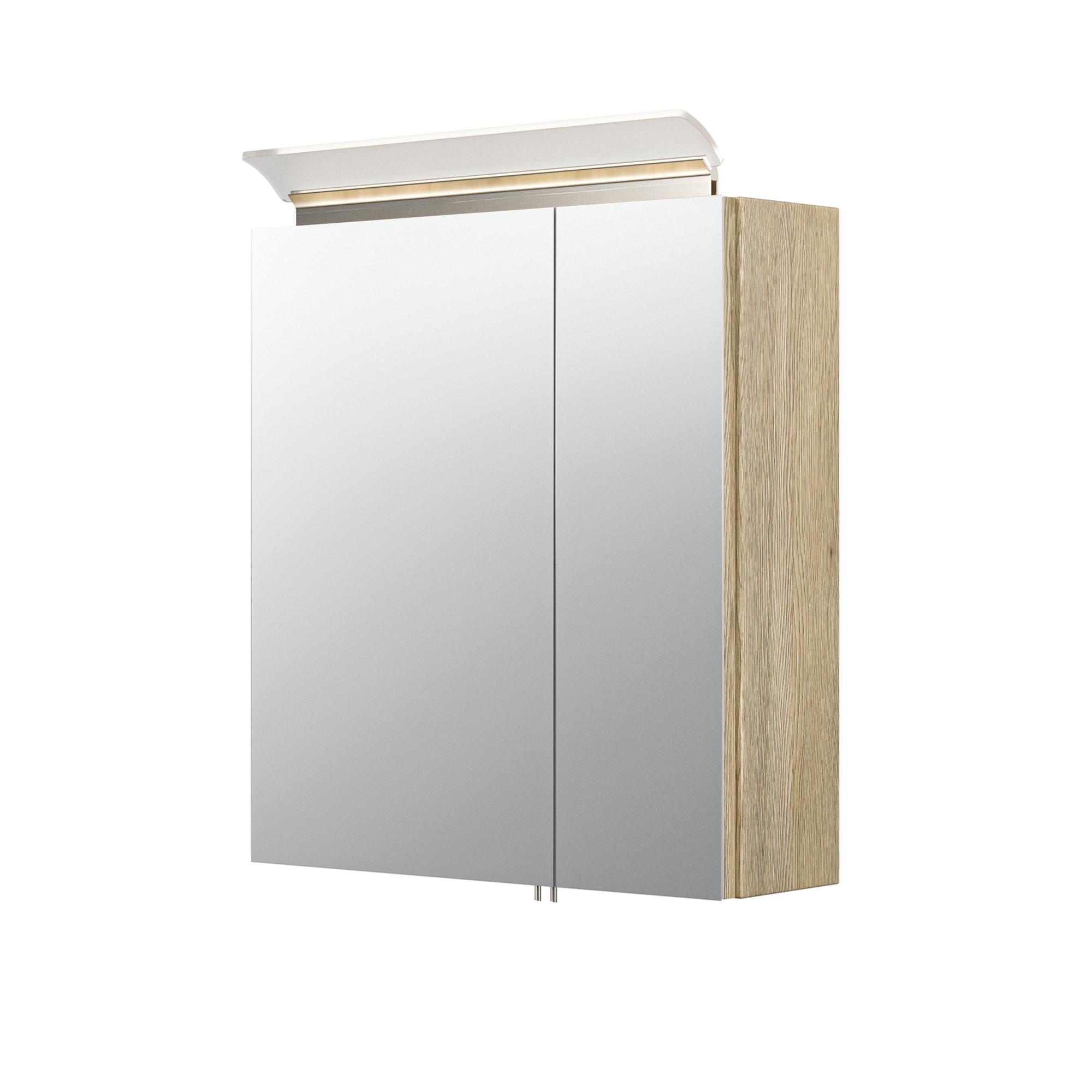 Bad Spiegelschrank LEVIA   mit Acrylglaslampe   20 cm breit   Eiche Hell