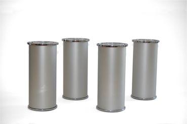 Aluminium-Möbelfüße - höhenverstellbar, 12 - 13 cm hoch - 4 Stück - Silber