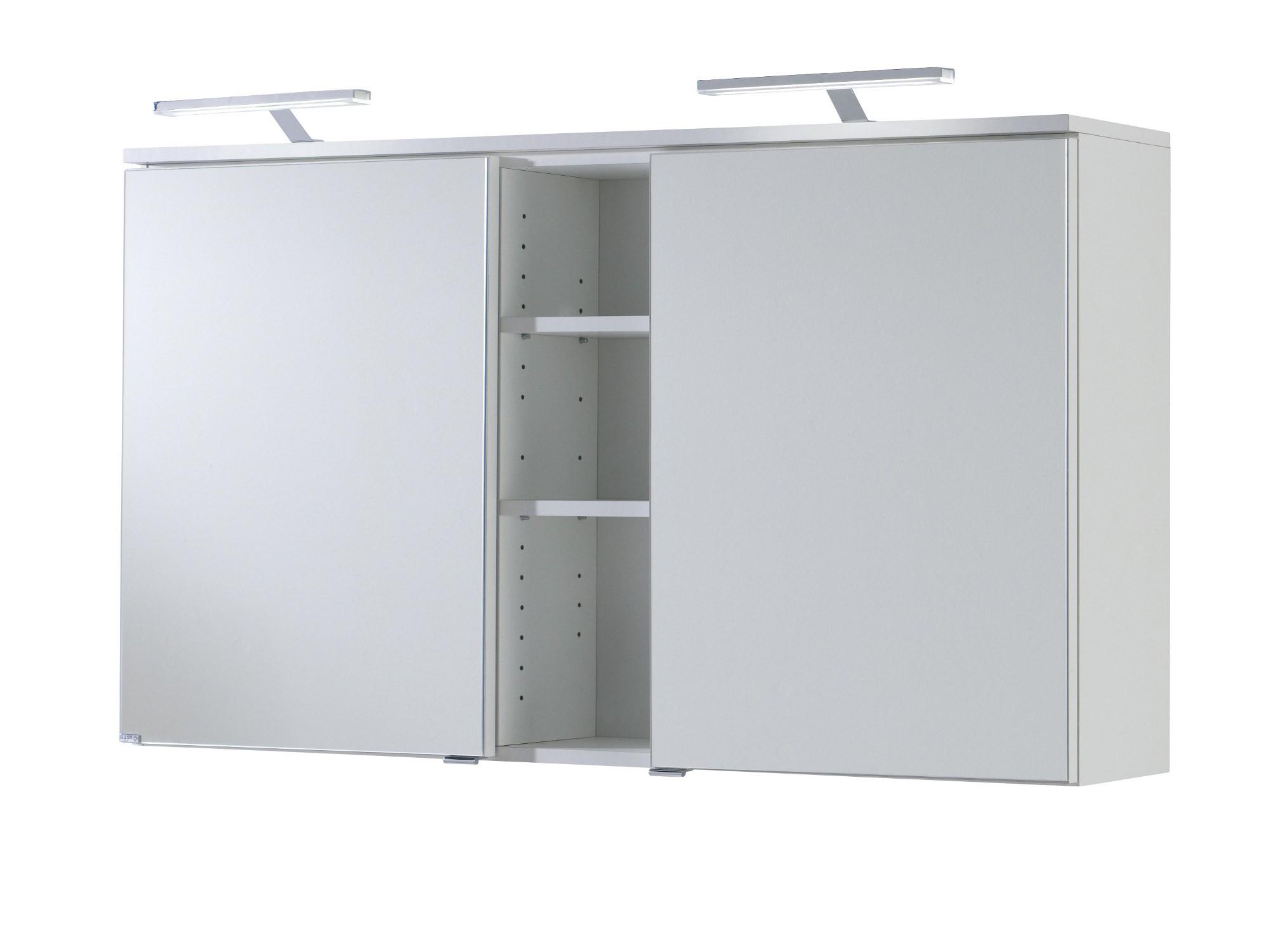 Bad-Spiegelschrank MAILAND - 2-türig, mit LED-Aufsatzleuchte - 120 cm breit  - Weiß