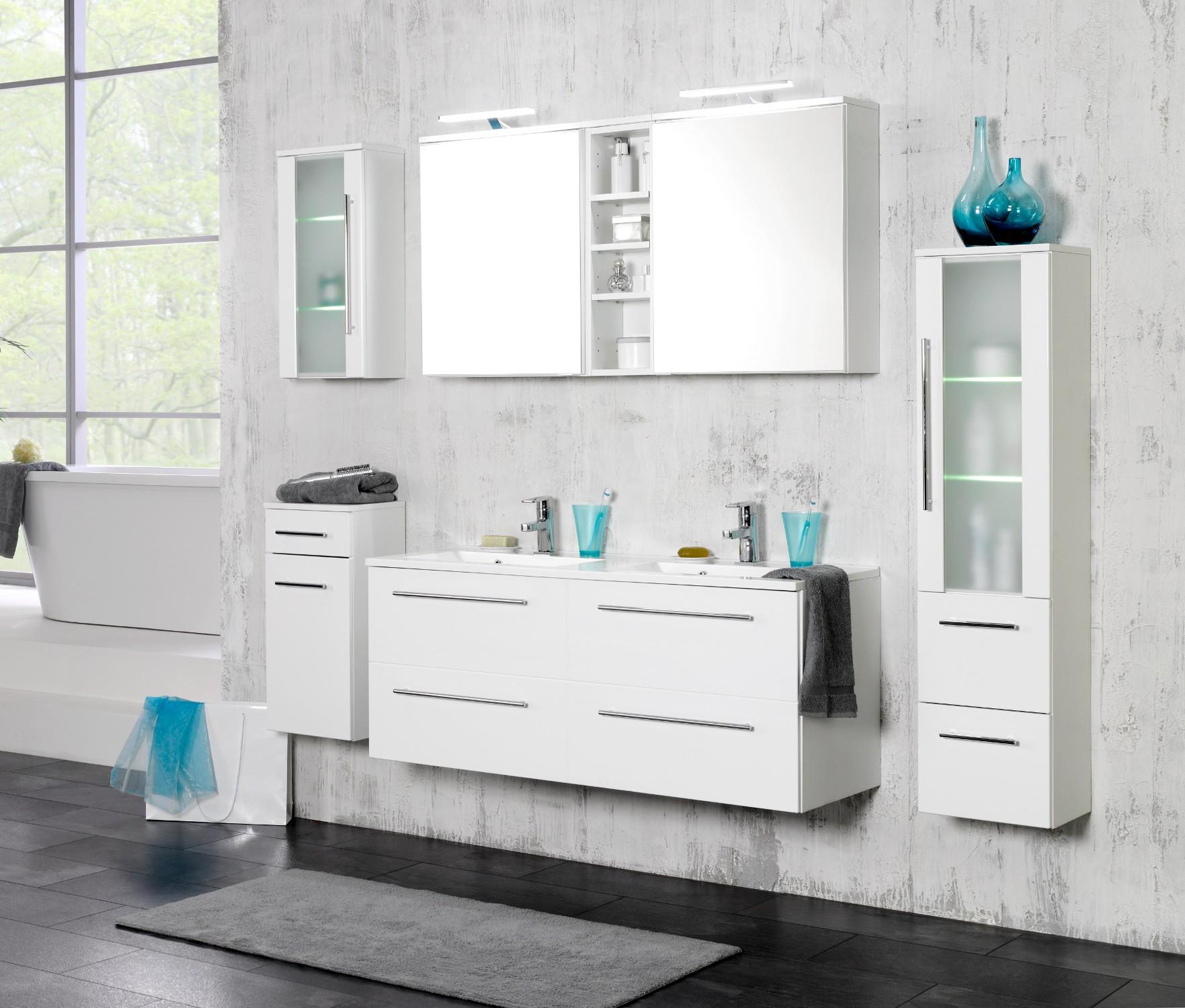 badm bel set mailand mit waschtisch 7 teilig 180 cm breit hochglanz wei bad badm belsets. Black Bedroom Furniture Sets. Home Design Ideas