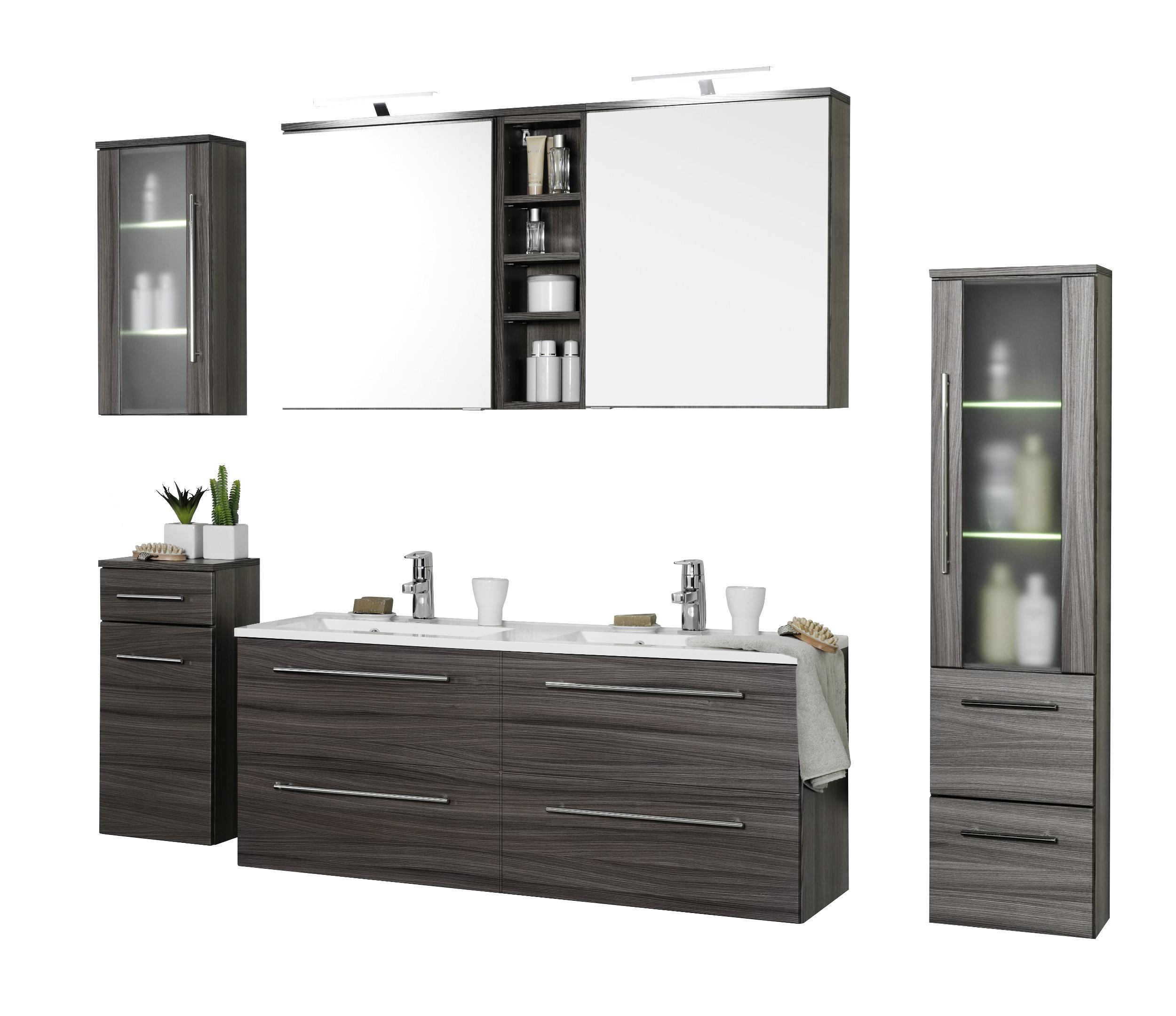 Badmöbel-Set MAILAND - mit Waschtisch - 7-teilig - 180 cm breit -  Eiche-Dunkel