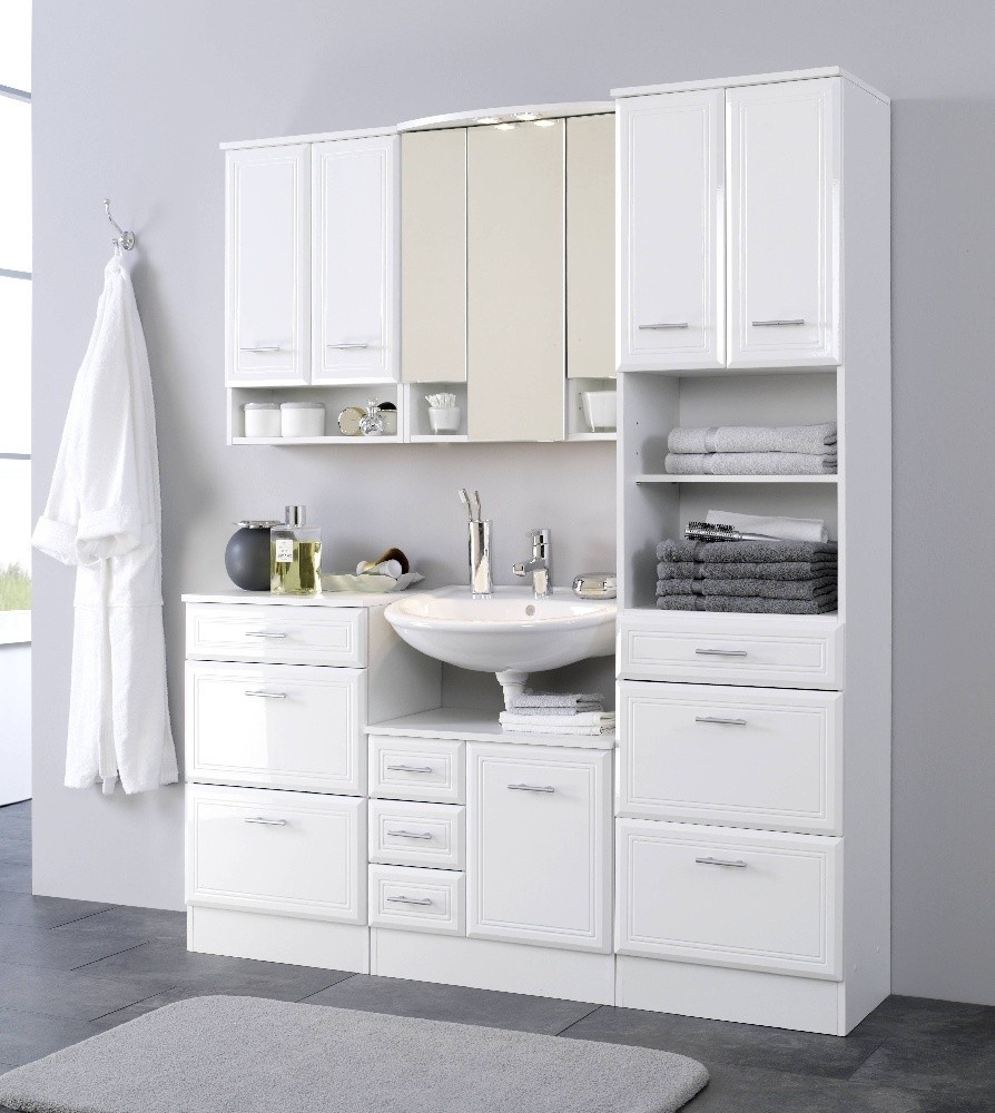 badezimmer h ngeschrank neapel badezimmerschrank 50 cm weiss ebay. Black Bedroom Furniture Sets. Home Design Ideas