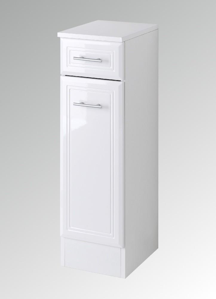 bad-unterschrank neapel - 1-türig, 1 schublade - 25 cm breit - hochglanz  weiß