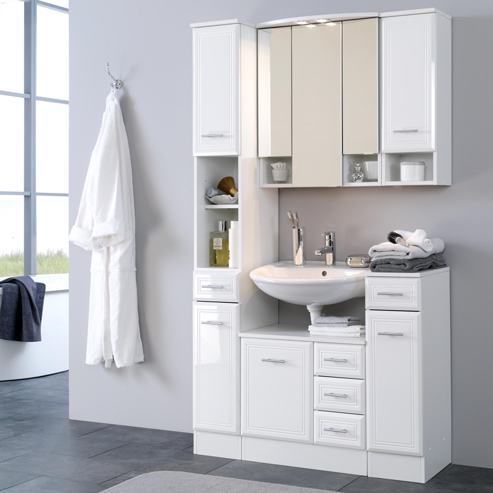 bad waschbeckenunterschrank neapel 1 t rig 3 schubladen 60 cm breit hochglanz wei bad. Black Bedroom Furniture Sets. Home Design Ideas