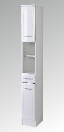 Bad-Hochschrank NEAPEL - 2-türig, 1 Schublade - 25 cm breit - Hochglanz Weiß