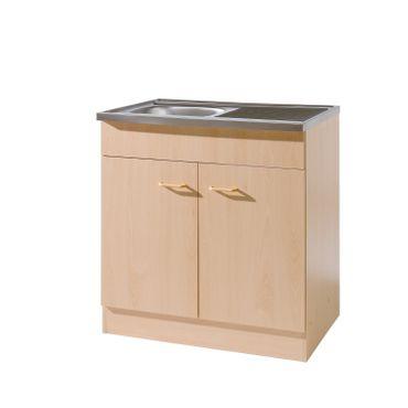 Küchen-Spülenschrank mit Siphon - 2-türig - Breite 80 cm, Tiefe 60 cm - Buche