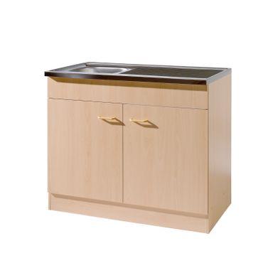 Küchen-Spülenschrank mit Siphon - 2-türig - Breite 100 cm, Tiefe 60 cm - Buche