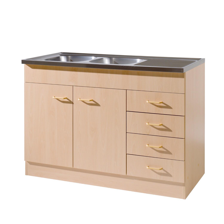 Kuchen Spulenschrank Mit Siphon 2 Turig 4 Schubladen Breite 120