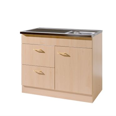 Küchen-Spülenschrank mit Siphon - 1-türig, 2 Auszüge - Breite 100 cm, Tiefe 60 cm - Buche