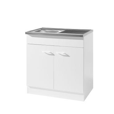 Küchen-Spülenschrank mit Siphon - 2-türig - Breite 80 cm, Tiefe 60 cm - Weiß
