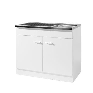Küchen-Spülenschrank mit Siphon - 2-türig - Breite 100 cm, Tiefe 60 cm - Weiß
