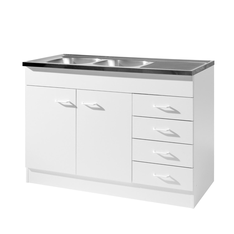 Küchen-Spülenschrank mit Siphon - 2-türig, 4 Schubladen - Breite 120 ...