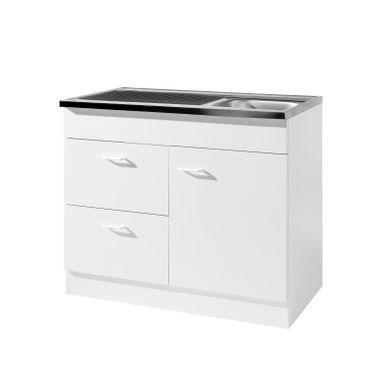 Küchen-Spülenschrank mit Siphon - 1-türig, 2 Auszüge - Breite 100 cm, Tiefe 60 cm - Weiß
