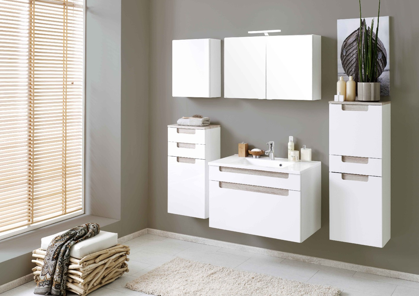 bad unterschrank siena 1 t rig 40 cm breit hochglanz wei eiche sonoma sonoma bad bad. Black Bedroom Furniture Sets. Home Design Ideas