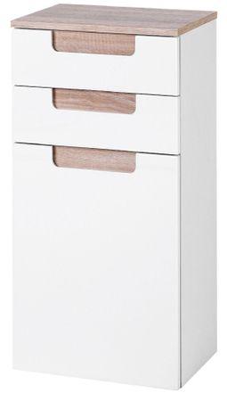 Bad-Unterschrank SIENA - 1-türig - 40 cm breit - Hochglanz Weiß / Eiche-Sonoma-Sonoma