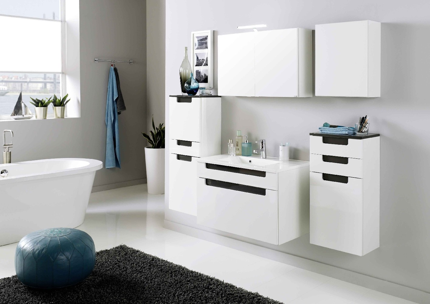 bad unterschrank siena 1 t rig 2 schubladen 40 cm breit hochglanz wei anthrazit grau. Black Bedroom Furniture Sets. Home Design Ideas
