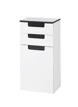 Bad-Unterschrank SIENA - 1-türig, 2 Schubladen - 40 cm breit - Hochglanz Weiß / Anthrazit-Grau