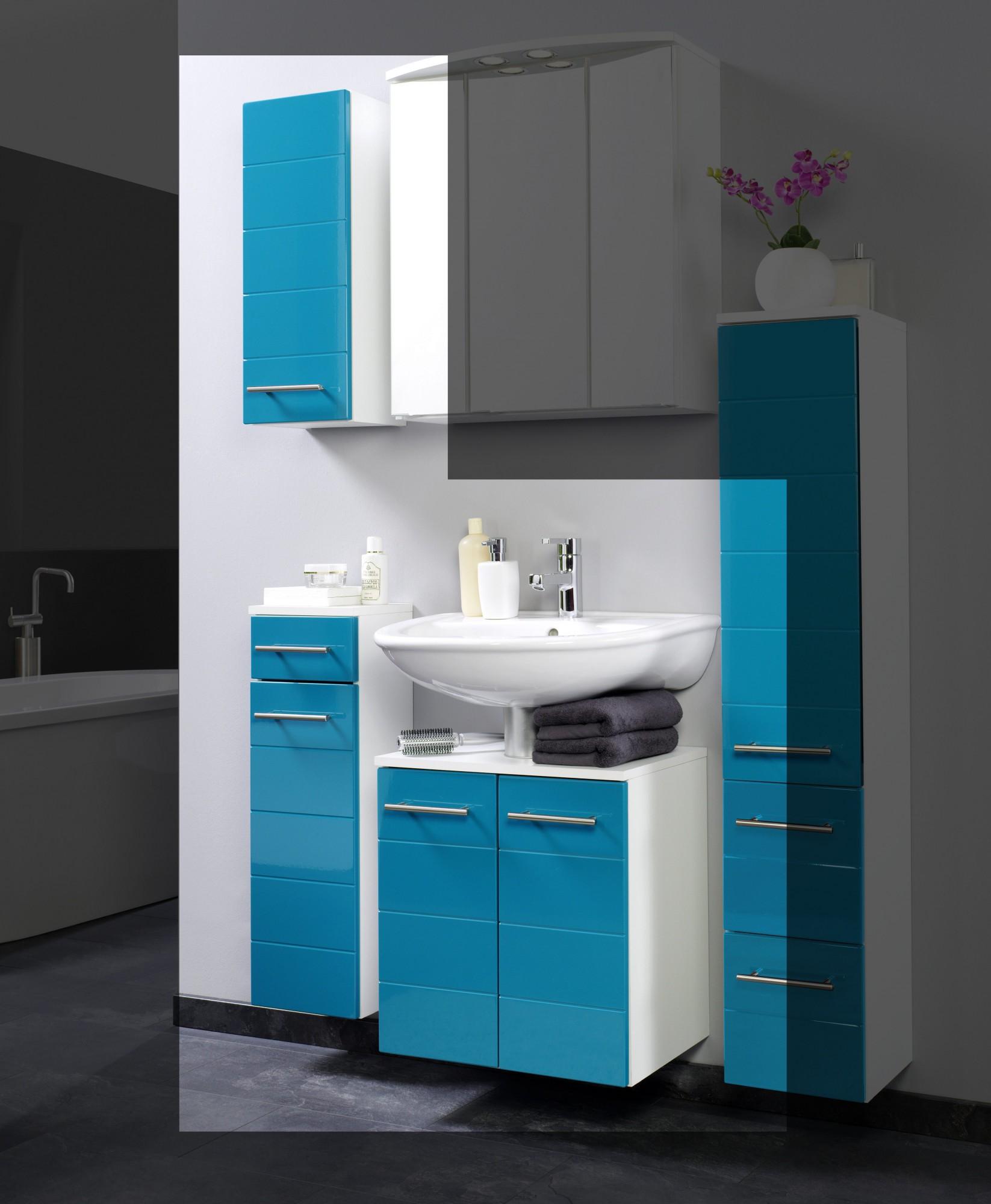 Details zu Badmöbelset RIMINI Badezimmer-Set Waschbeckenschrank Badmöbel  Badschränke türkis