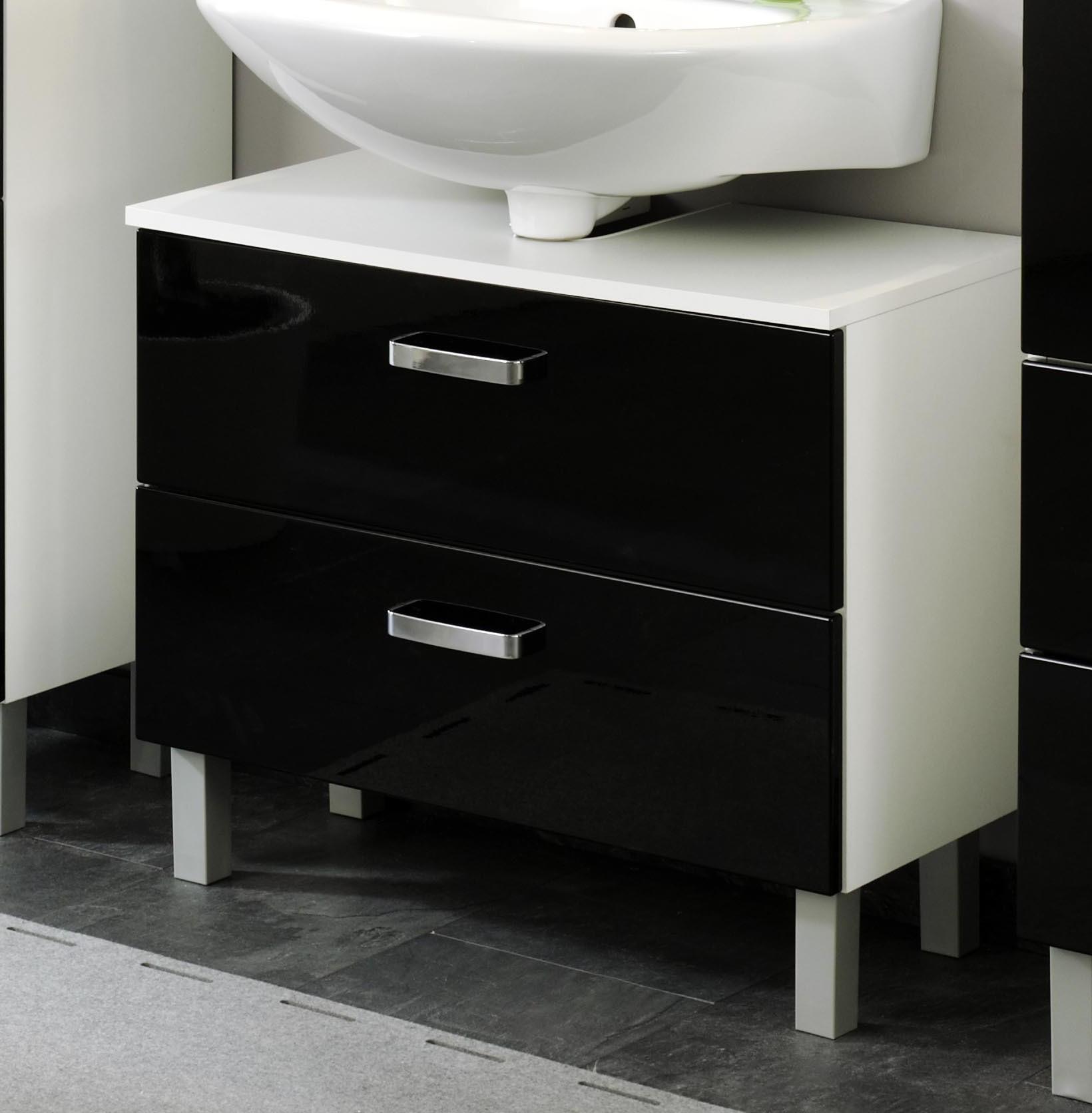 Bad-Waschbeckenunterschrank DENVER - 1111 Klappe, 1111 Auszug - 11 cm breit -  Hochglanz Schwarz