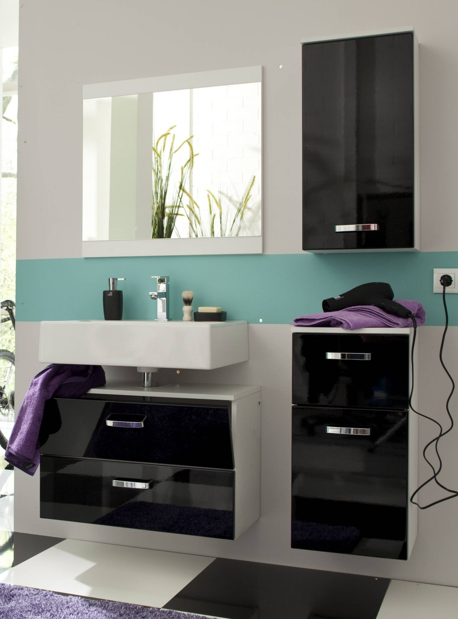 bad unterschrank denver 1 t rig 1 schublade 35 cm breit hochglanz schwarz bad bad. Black Bedroom Furniture Sets. Home Design Ideas