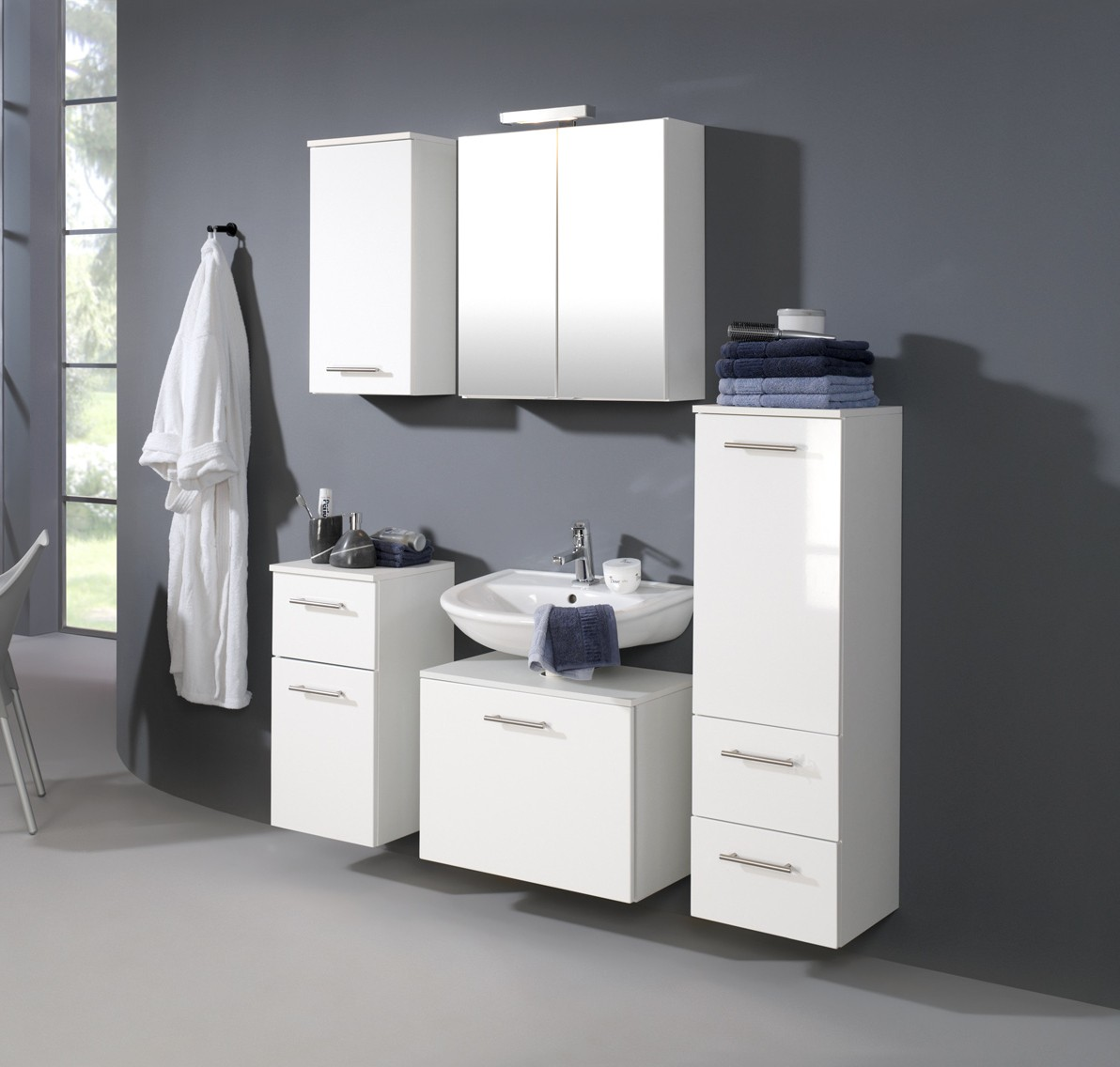 bad unterschrank blanco 1 t rig 1 schublade 35 cm breit hochglanz wei bad bad unterschr nke. Black Bedroom Furniture Sets. Home Design Ideas