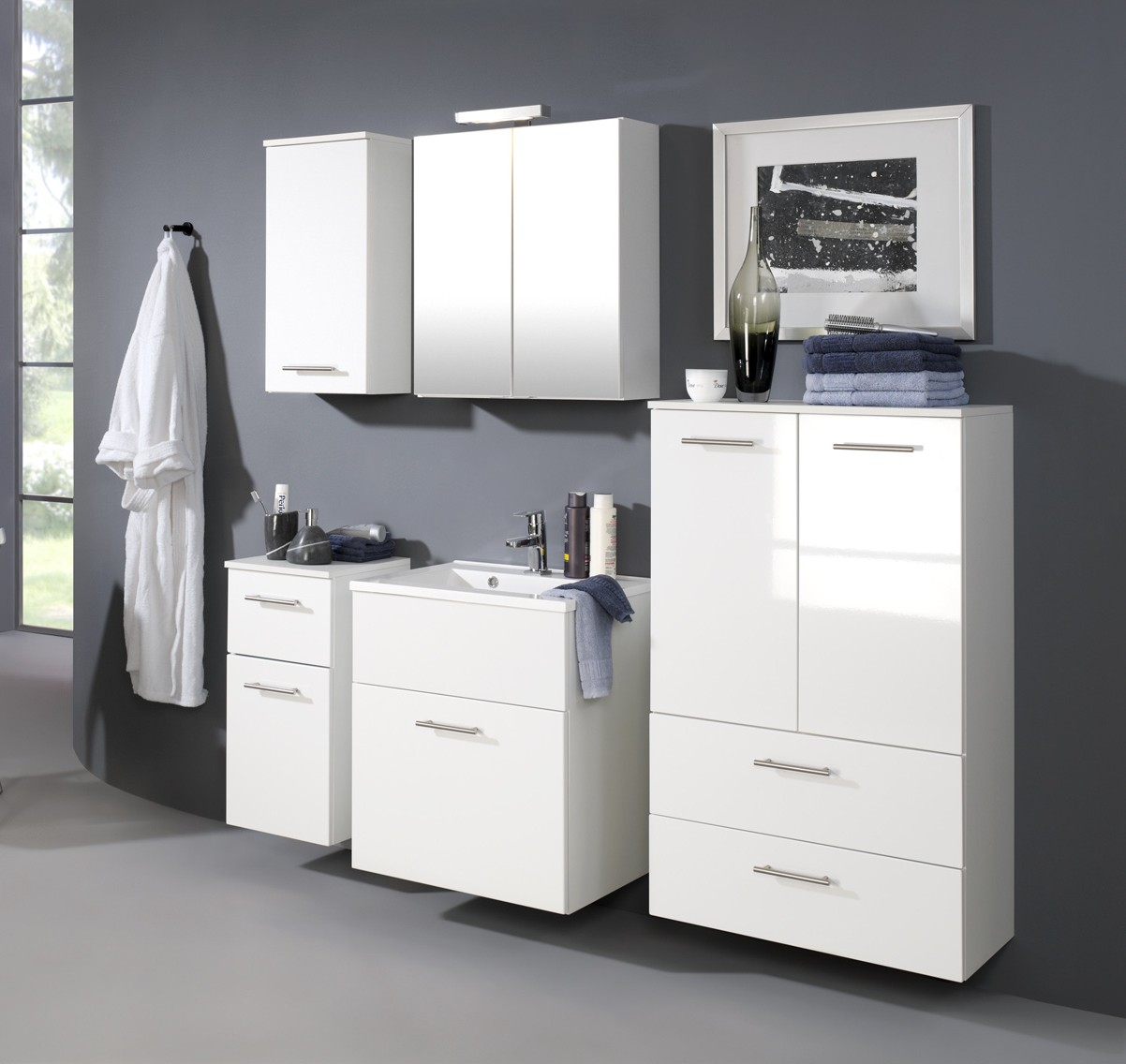 bad h ngeschrank blanco 1 t rig 35 cm breit hochglanz wei bad bad h ngeschr nke. Black Bedroom Furniture Sets. Home Design Ideas