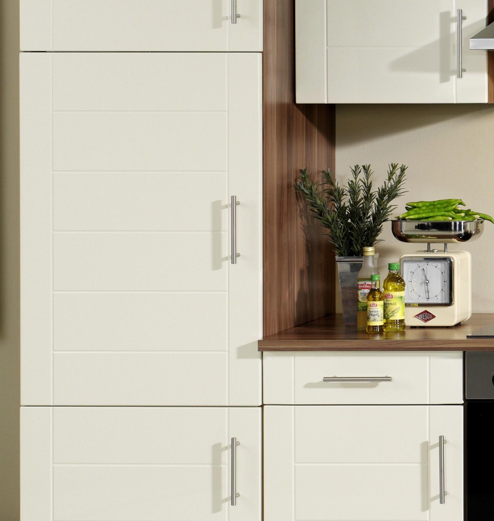 Küchenzeile NEVADA - Küche mit E-Geräten - Breite 280 cm - Hochglanz Creme Küche Küchenzeilen