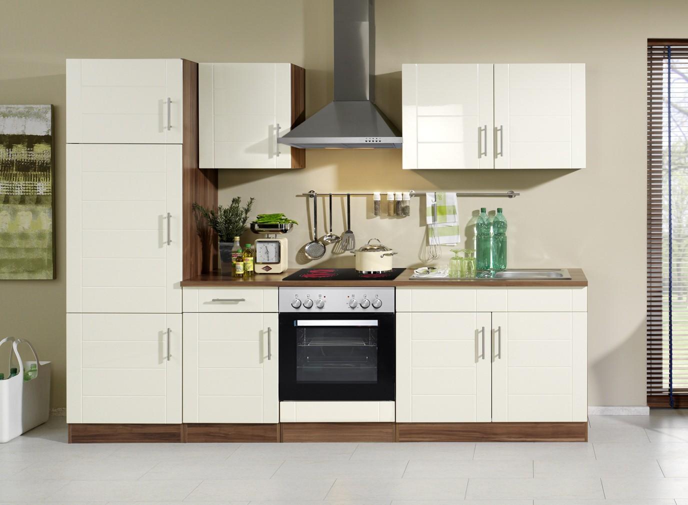 Küchenzeile NEVADA - Küche mit E-Geräten - Breite 270 cm - Hochglanz ...