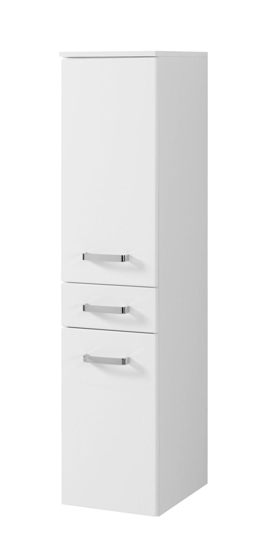 Bad-Midischrank BOLOGNA - 188-türig, 18 Schublade - 18 cm breit - Hochglanz  Weiß / Weiß