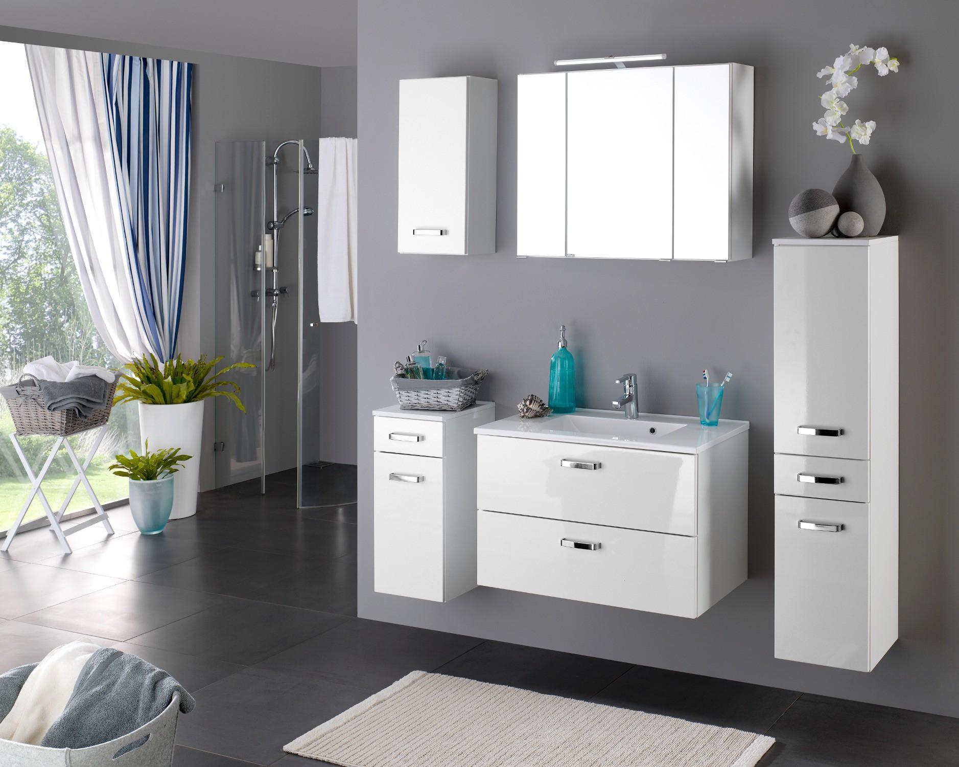 bad h ngeschrank 1 t rig 30 cm breit hochglanz wei. Black Bedroom Furniture Sets. Home Design Ideas