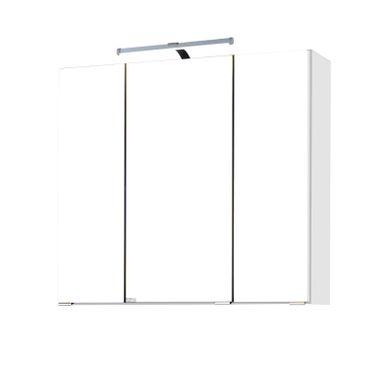 Bad-Spiegelschrank BOLOGNA - 3-türig, mit LED-Aufbauleuchte - 70 cm breit - Weiß
