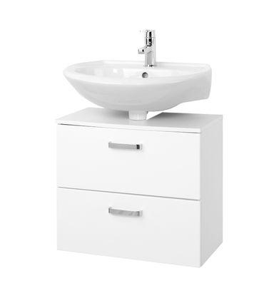 Bad-Waschbeckenunterschrank BOLOGNA - 1 Auszug, 1 Klappe - 60 cm breit - Hochglanz Weiß / Weiß