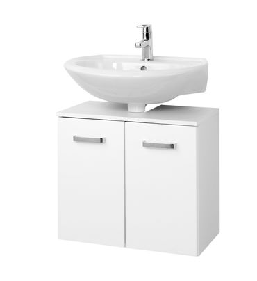 Bad-Waschbeckenunterschrank BOLOGNA - 2-türig - 60 cm breit - Hochglanz Weiß / Weiß