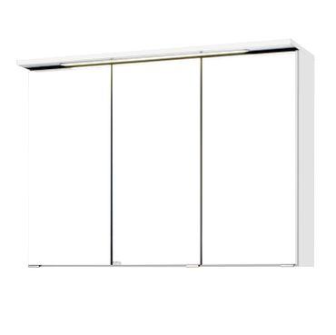 Bad-Spiegelschrank BOLOGNA - 3-türig, mit LED-Lichtleiste - 90 cm breit - Weiß