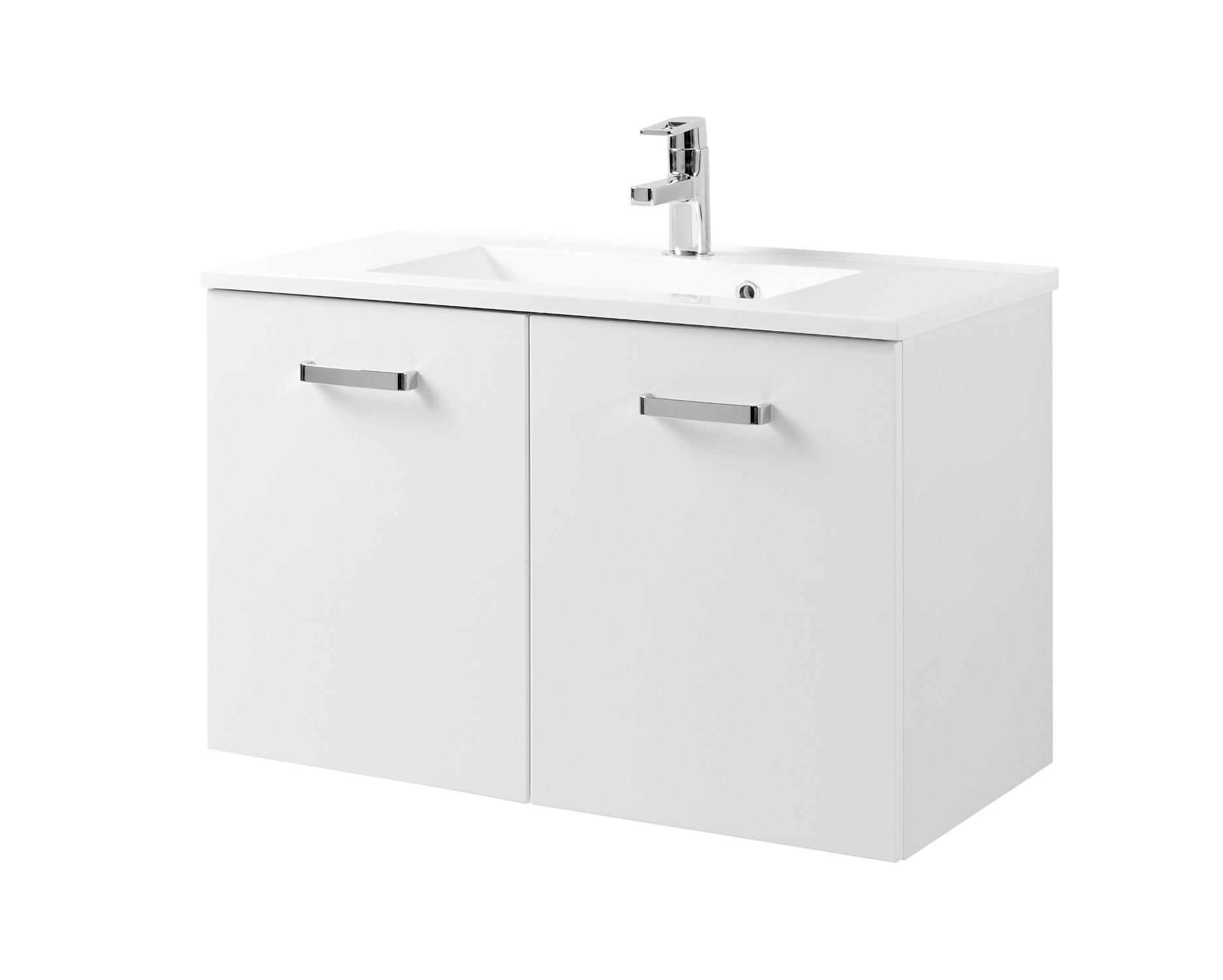 Details zu Waschtisch mit Unterschrank 8 cm 8 Türen Waschtischunterschrank  hochglanz weiss