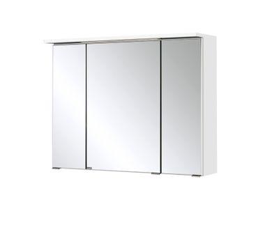Bad-Spiegelschrank BOLOGNA - 3-türig, mit LED-Lichtleiste - 80 cm breit - Weiß